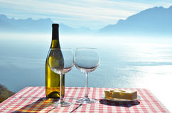 Wine against Geneva lake royalty free stock photo