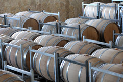 Wine aging in barrels Royalty Free Stock Photos
