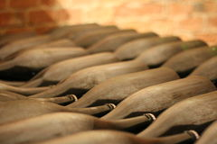 Wine Aging. Piedmonts, Italy have one of the best wines of the whole country. In this bottles the nectar aging is a very uncommon wine of White Nebbiolo Stock Images