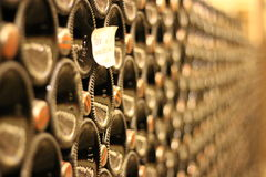 Wine Aging. Piedmonts, Italy have one of the best wines of the whole country. In this bottles the nectar aging is a very uncommon wine of White Nebbiolo Stock Photography