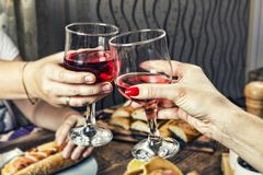 Wine, alcohol, celebration, dinner, glass, romantic, table, anniversary, celebrate, closeup, royalty free stock photos