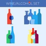 Wine/alcohol set. Set of icons logos bar pub whiskey brandy wine cognac alcohol Stock Photography