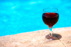 Wine amd pool Royalty Free Stock Photography