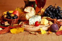 Wine And Cheese Still Life Stock Photography