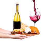 Wine And Food With Waiter Hand Stock Photos