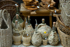Wine And Oil Bottles With Wicker Stock Photo