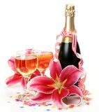 Wine And Pink Lilies Stock Photography