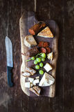 Wine appetizers set: meat and cheese selection Royalty Free Stock Photos