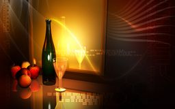 Wine and apple Royalty Free Stock Image