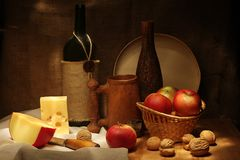Wine and apples Royalty Free Stock Photography