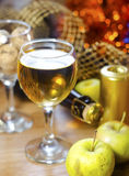 Wine and apples. White wine and green apples Royalty Free Stock Images