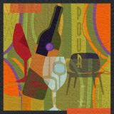 Wine Art Poster Mid Century Modern. Style pour and relax party invitation cabernet stock photo