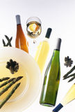 Wine with asparagus Royalty Free Stock Images