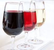 Wine Assortment. Three glasses with red, fruit and white wine. The perfect wine assortment Stock Images