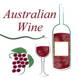 Wine Australian Shows Alcoholic Drink And Winetasting. Australia Wine Meaning Drink Alcohol And Booze Royalty Free Stock Photography