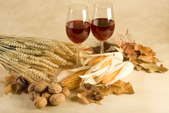 Wine in autumn decor Royalty Free Stock Photo