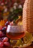 Wine in the autumn surroundings. Autumn still life Stock Photos