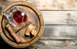 Wine background. Barrel of red wine royalty free stock image