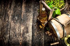 Wine background. A barrel of white wine with branches of green grapes. Royalty Free Stock Images