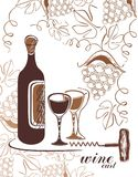 Wine background - with grapes and bottle Stock Images