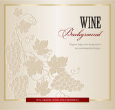 Wine background with grapes branch. Wine card menu with hand drawn art grapes branch  background Royalty Free Stock Images
