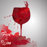 Wine background. Hand drawn illustration. Watercolor. Splash blob design.red Stock Images