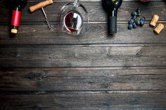 Wine background. Red wine with grapes royalty free stock photography