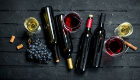 Wine background. Red and white wine stock photo