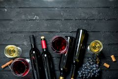 Wine background. Red and white wine stock images