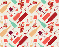 Wine Background. Seamless background with wine bottles and glasses silhouettes royalty free illustration