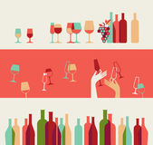 Wine Background. Set of three decorative backgrounds with wine bottles and glasses silhouettes stock illustration