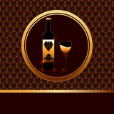 Wine background. Vector background with a bottle of wine and a wineglass Royalty Free Stock Image