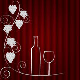 Wine background. Vector background with grapes and a bottle of wine Royalty Free Stock Photo