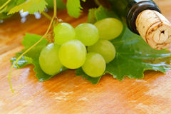 Wine background - wine bottle and grape Stock Photography