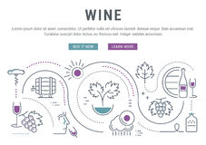 Wine Banner for Website Banner and Landing Page Royalty Free Stock Photography