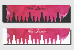 Wine banners design template. Vector flyer for wine bar, wine shop. Wine banners design template. Vector flyers collection. Artistic banners, cards for wine bar Royalty Free Stock Images