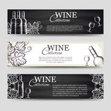 Wine banners with glasses and bottles Stock Photography