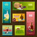 Wine Banners Set. With vineyard cocktails ceramic bottle and barrel on wooden background isolated vector illustration Royalty Free Stock Photos