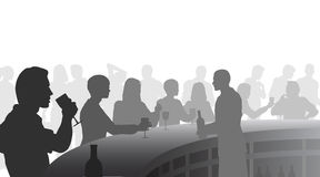 Wine bar. Editable  silhouettes of people in a wine bar with all figures as separate objects Stock Photo