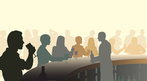 Wine bar. Editable  silhouettes of people in a wine bar with all figures as separate objects Royalty Free Stock Photos