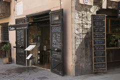 Wine bar, snacks and drinks. Royalty Free Stock Photography
