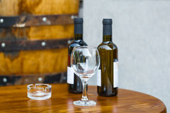 Wine bar tasting set up tray decoration bottles in restaurant royalty free stock photography