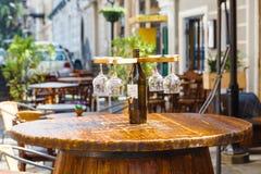 Wine bar tasting set up tray decoration bottles in restaurant stock images