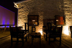 Wine bar terrace. Wine bar on an outside terrace at night Stock Photo