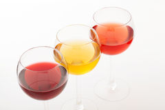 Wine bar, three glasses of wine unusual Stock Images