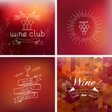 Wine bar vintage label background set Royalty Free Stock Photo