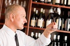 Wine bar waiter looking at glass restaurant Stock Photo