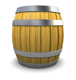 Wine barrel. 3d illustration of wooden barrel over white background Royalty Free Stock Photos