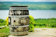 Wine Barrel. On hill before a lake Stock Photos