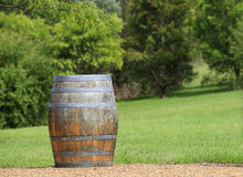 Wine Barrel. A weathered old barrel with a green garden background. Focus on foreground with room on the barrel for your text Royalty Free Stock Photos